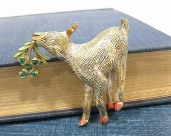 Vintage Gold Tone Lamb Brooch with Green Rhinestone 4-Leaf Clover