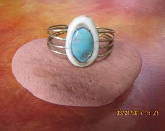 Elk Antler, Turquoise & Brass Cuff Bracelet
