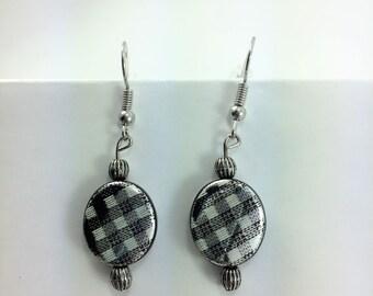 Black & white checker earrings #99