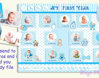 My First Year Baby Photo Collage Baby Boy Collage Gift For New Born Baby Boy Birth announcement Baby Boy Printable photo Photo Editing