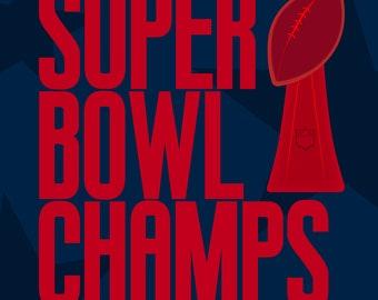 New England Patriots Super Bowl poster