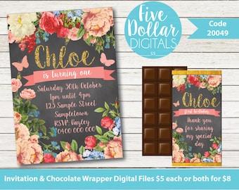 Floral Blackboard Personalised Digital Birthday Invitation & Chocolate Candy Bar Wrapper