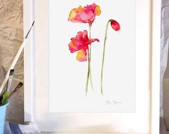 WATERCOLOR FLOWERS, printable art, poppies flowers, red flowers, red poppy, love gift,original watercolor, home design, wall art, poppy art