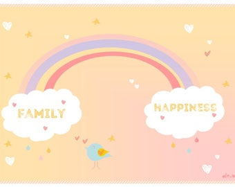 Illustration cloud drops of rain, Rainbow bird and colorful hearts, decorating kids room, family, happiness