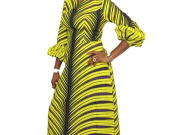 African Ankara Print Palm leaf Maxi Dress