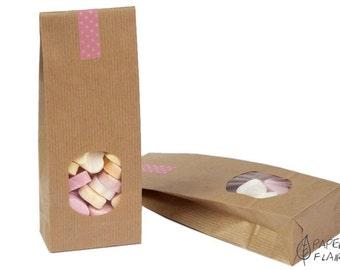 25 paper bags gift bags kraft paper nature (E-1)