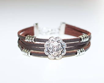 Leather Bracelet, Ladies Bracelet, Brown, Boho Style