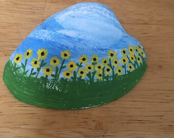 """Hand Painted """"Sunflower Garden"""" on Clam Shell"""
