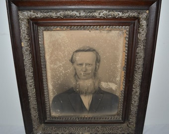 "Antique 19th Century Ornate Frame and Photo 32 1/2""x28"""