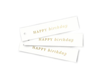 Happy Birthday - Gift Tag with Gold Foil / Gift Tag modern / Flag Tag / Birthday Gift / Real Gold Foil / Gift Tag Set
