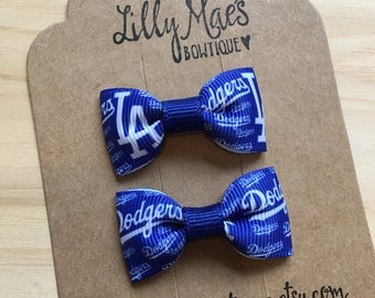 LA Dodgers inspired mini bow, Mini Tuxedo Hair Bows, baby & toddler hair clip, mini bow