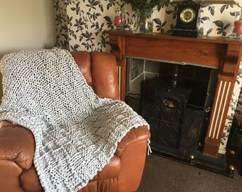 Hand Knitted Chunky Blanket/throw made from Recycled Cotton.