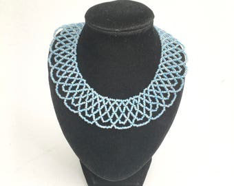 Blue glass lace collar necklace