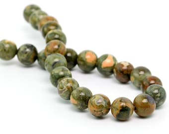 "8MM Rainforest Rhyolite Natural Gemstone Round Shape Half Strand Loose Beads 7.5"" (100157h-261)"