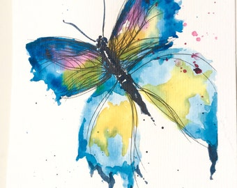 """Original watercolour painting and ink """"Butterfly"""" size A5"""