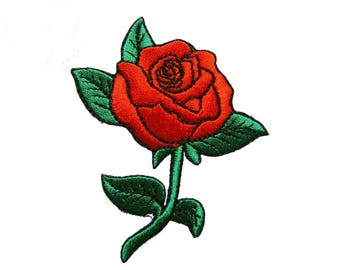 Red Rose Patch Flower Patches Applique Embroidered Iron on Patch