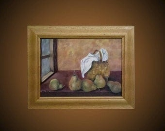 Original oil painting on canvas with frame, fruit, still life, green, brown, basket, pear, colorful, Home Deco, size 35 * 25