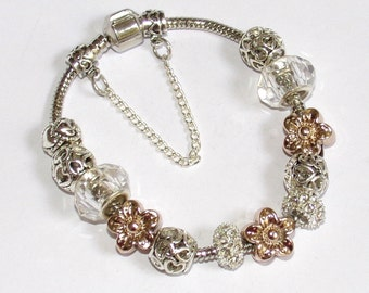 """BEAUTIFUL Silver Bracelet with silver and gold charms """"style Pandora"""""""