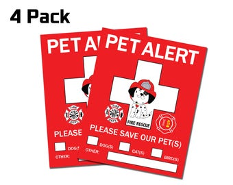 Pet Rescue Alert Safety Sticker - Fire Department - Dog Cat Bird - In case of Fire or Emergency Decal 4 Pack