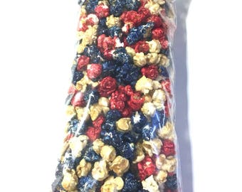 Patriotic Red White Blue Popcorn Candy Coated Popcorn