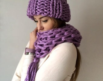 Chunky purple heavyknit set,  alpaca wool knits