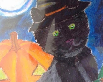 Halloween Cat with Glowing Pumpkin