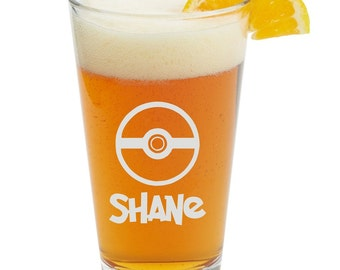 POKEMON,Personalized Glass- Themed Pint Glasses-Beer Glass