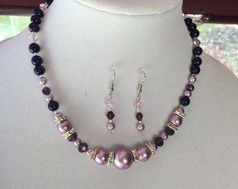 Elegant Mauve and Purple Necklace W/Earrings,glass beads, pearls,one of a kind set,mother of the bride