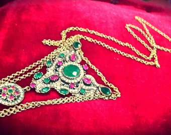 Silver necklace, Ruby and Emerald root root