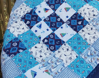 Baby Quilt Nautical, Blue Baby Quilt, Baby Quilt Handmade, Boy Baby Quilt, Nautical Quilt, Sailing Quilt, Patchwork Quilt