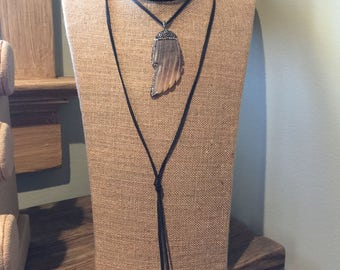 Deerskin leather lariat necklace with your choice pendant