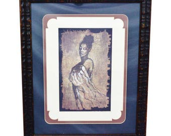 Contemporary Print of Woman Wall Art, Framed and Matted