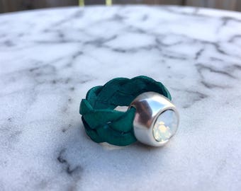 Leather ring with Swarovski stone