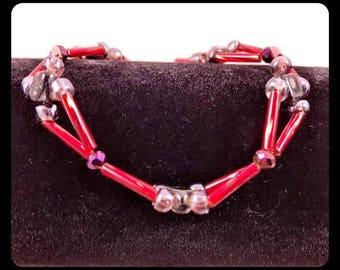 7 1/4'' Red Double Strand Beaded Bracelets