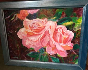 Pink Cabbage Roses Painting