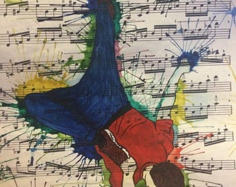 Original watercolour break dancer on music paper