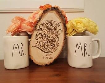 Monogram | Wedding Date | Anniversary Gift | Wedding Gift | Home Decor