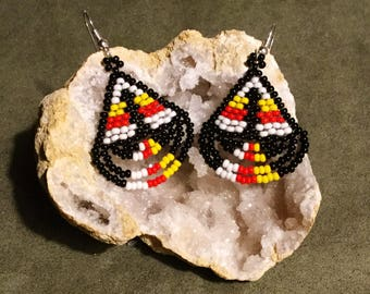 Native American Beaded Earrings, Medicine Wheel Colours, Czech Glass Seed Bead Earrings