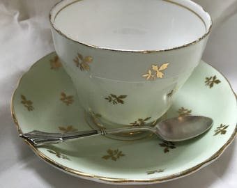 Vintage adderly bone china cup and saucer with a silver spoon, vintage bone china, English china