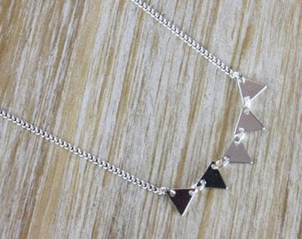 Ethnic silver triangle necklace