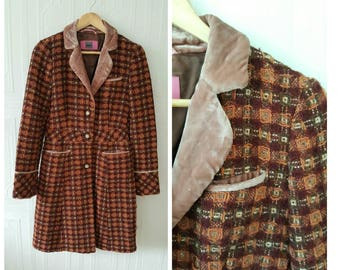 Vintage, tweed coat, velour details, spring coat, fall coat, size extra small, small
