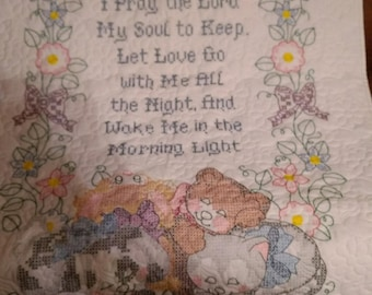 Now I Lay Me Down to Sleep Hand Embroidered Baby Quilt