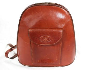 Vintage Cognac Brown Leather Backpack