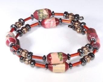 Orient Elegance (Upcycled Paper Bead Bracelet/SB0054)