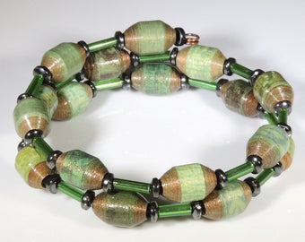 Penny Clover (Upcycled Paper Bead Bracelet/SB0064)