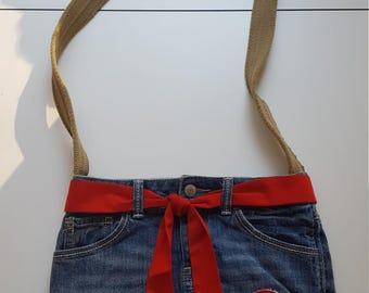 Upcycled Denim Shoulder Bag Purse.