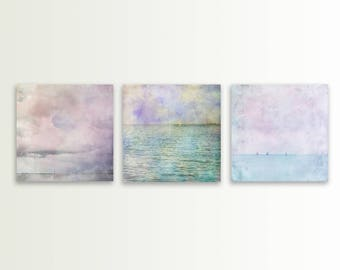 Pastel blue beach decor set Beach prints Ocean art set of 3 landscape photographs Beach photos Aqua Turquoise Beach pictures Modern decor