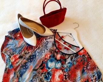 Vintage Plus Size , Vintage Plus Dress , Vintage Floral , Plus Floral Dress , Gaily-patterned Plus , Vintage Kimono Cut , Plus Kimono Cut
