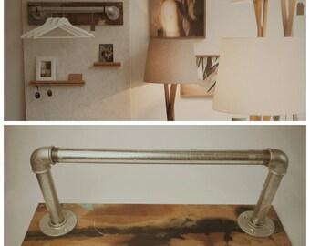 Wardrobe, oak & steel tube, used