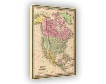 Map Of North America 1859, Vintage Style Canvas Print, Old Maps, United States, Mexico, British Territory, Canada, Atlantic And Pacific